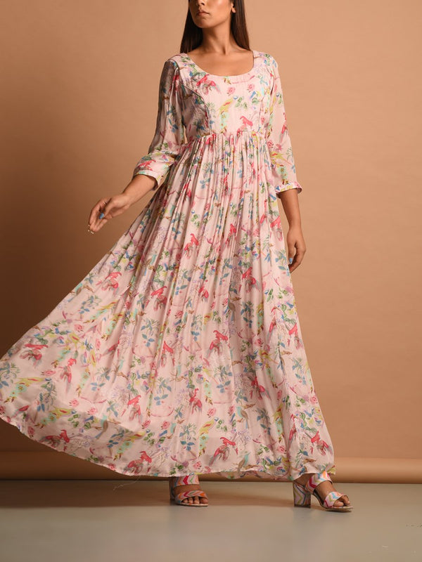Powder Pink Floral Printed Chiffon Dress