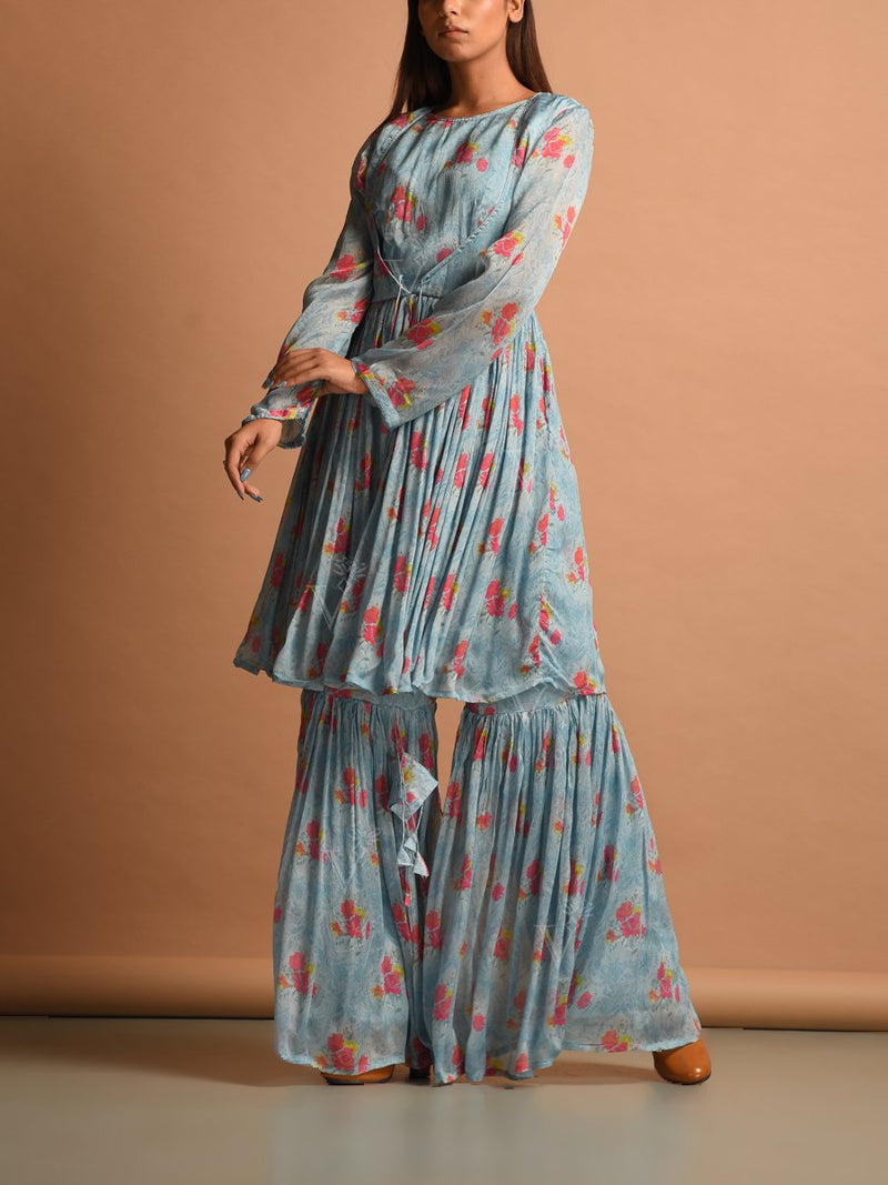 Blue Chiffon Printed Sharara Set