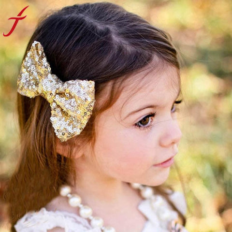 Sequin Bow Hair Barrette