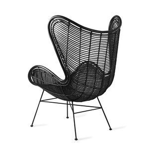 Egg Chair Rattan schwarz HK Living