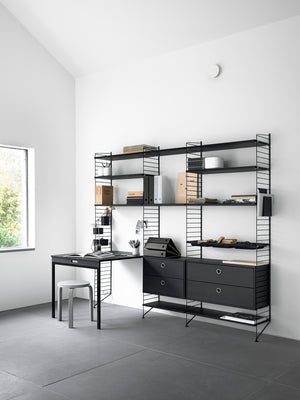 Anbauwand Office schwarz 220x200 cm STRING Furniture