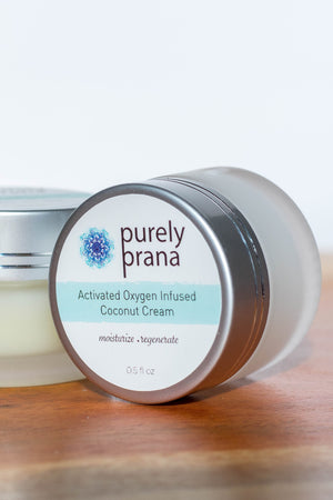 Activated Oxygen Infused Coconut Cream, organic skin care creams, oxygenated skin care, purely prana