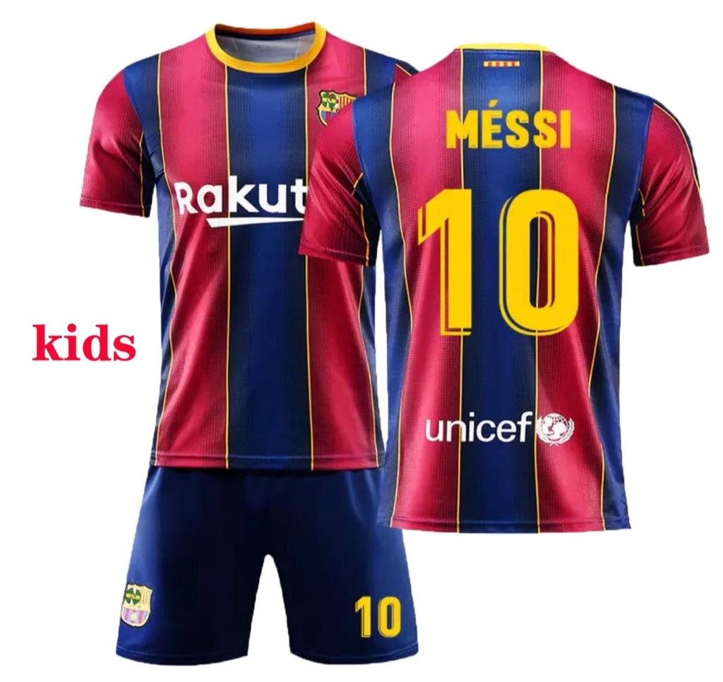 Club Barcelona Home Messi Kids Kit 2021 De Lion Designs