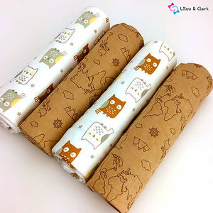 4pcs Wise Owl 100% Cotton Newborn Blanket Set