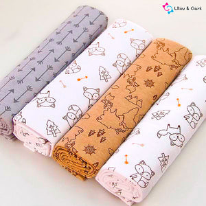4pcs Woodland 100% Cotton Newborn Blanket Set