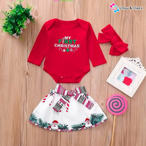 3Pcs Xmas Romper Bow & Skirt Set