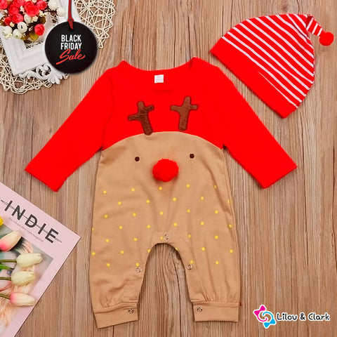 Image of 3D Cute Reindeer Xmas Baby Jumpsuit