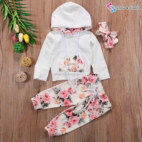 3 Pieces Floral Baby Girl's Set