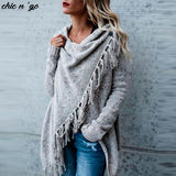 Stylish Long Sleeve Knitted Cardigan with Tassel Finish
