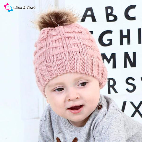 Image of Cute Toddler Winter Warm Crochet Knitted Beanie