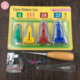 The Ultimate 16 Pcs Bias Tape Maker Box Set  (Quilting Awl & Binder Foot included)