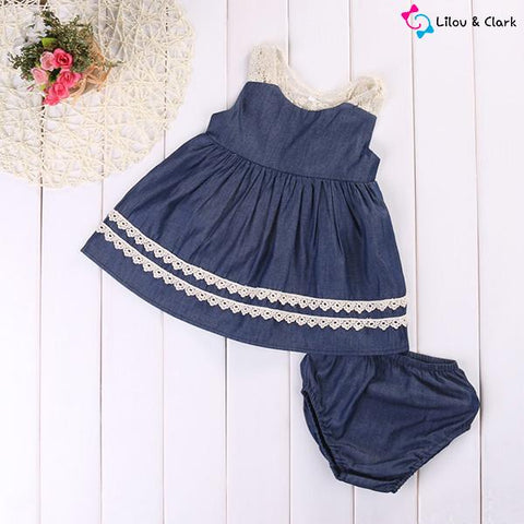 Navy Blue Baby Girl's Dress & Shorts