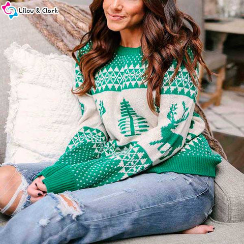 Image of Christmas Style Snowflake Women's Sweater