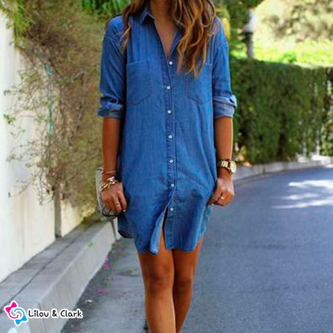 Image of Autumn Denim Dress with Pockets