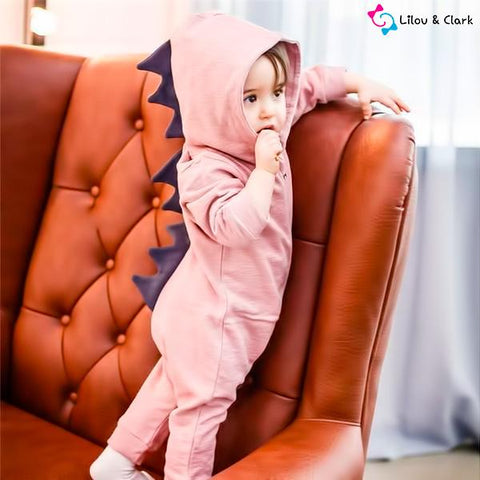 Image of 3D Dinosaur Baby Girl's Rompers