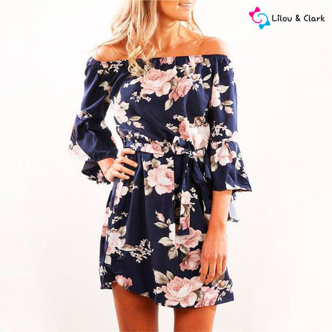 Image of Beautiful Off Shoulder Floral Print Chiffon Dress