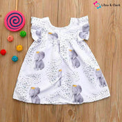 Lovely Elephant Print Baby Girl's Dress