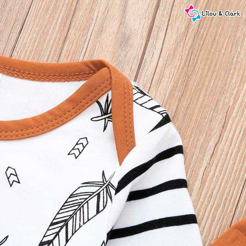 3Pcs Feather print Baby Boy's Set