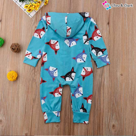 Image of Too Cute Fox Hooded Jumpsuit