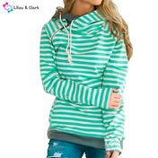 Green Striped Hoodie With Zipper