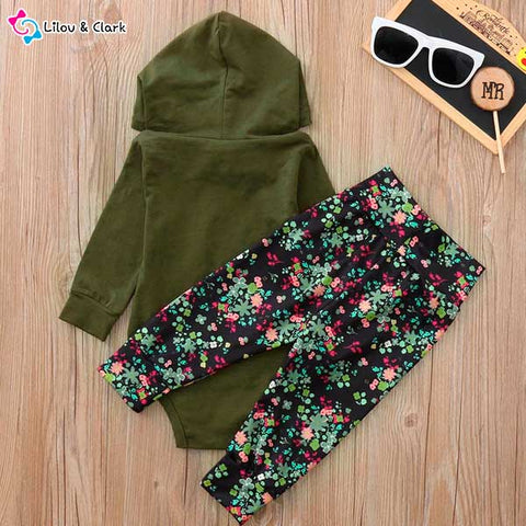 Autumn Hooded Romper & Floral Print Pants Set For Baby Girls