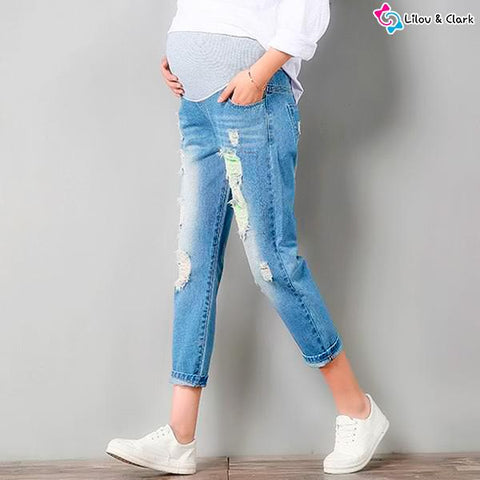Image of Maternity Deep Blue Capri Jeans