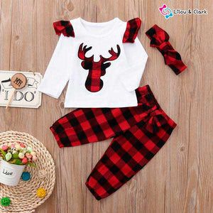Xmas Moose Baby Girl's Outfit