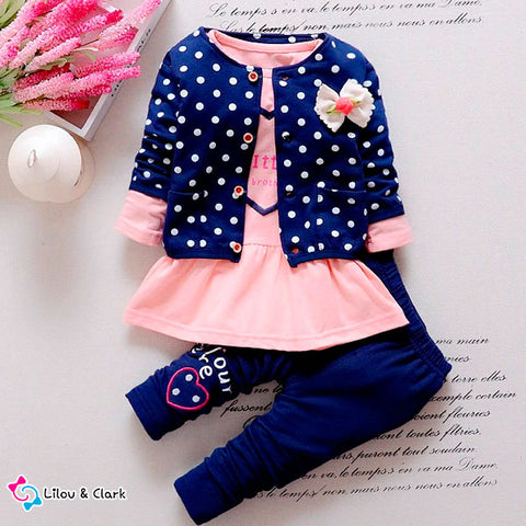 3 Pieces Polka Dot Baby Girl's Autumn Set
