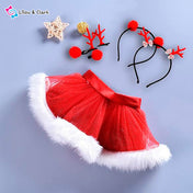 2Pcs Christmas Tutu Skirt & Hair Hoop Toddler Set