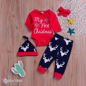 4PCS Christmas Baby Outfit