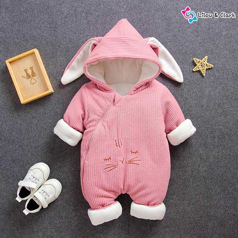 Thick Cotton Bunny Hooded Jumpsuit