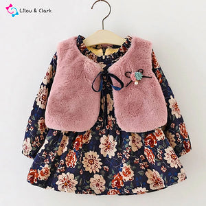 2 Pcs Alpha Line Floral Dress and Faux Fur Vest Set