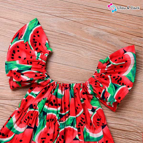 Summer Watermelon Jumpsuit For Baby Girls