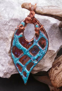 Turquoise and Copper Porcelain Pendant