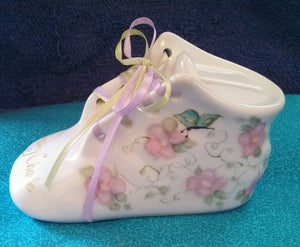 Hand Painted Porcelain Baby Shoe Bank