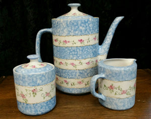 Hand Painted Teapot Set With Miniature  Roses