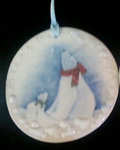 Hand Made Porcelain Polar Bear Ornament