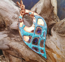 Load image into Gallery viewer, Turquoise and Copper Porcelain Pendant