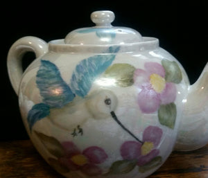 Hand Painted Tea Pot with a Hummingbird and Lizard