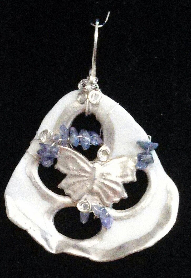 Porcelain Butterfly Pendant with Silver and Tanzanite