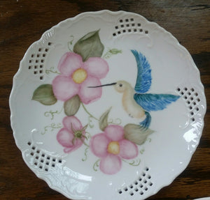 Hummingbird and Wild Roses Plate