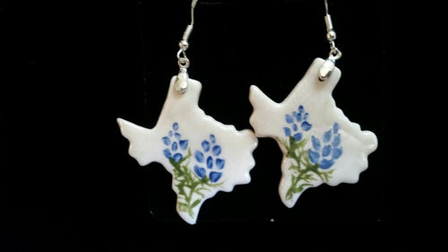 Texas Shaped Pendant and Earring Set  Bluebonnets
