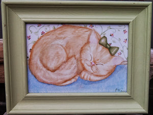 Adorable Sleeping Kitty Framed Plaque