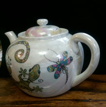 Load image into Gallery viewer, Hand Painted Tea Pot with a Hummingbird and Lizard