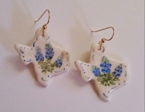 Texas Earrings with Bluebonnets