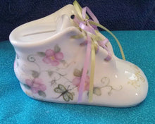 Load image into Gallery viewer, Hand Painted Porcelain Baby Shoe Bank