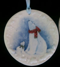 Load image into Gallery viewer, Hand Made Porcelain Polar Bear Ornament