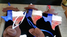 Load image into Gallery viewer, Handmade Porcelain Texas Shaped Ornaments with Cowboy Hat
