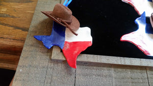 Handmade Porcelain Texas Shaped Ornaments with Cowboy Hat