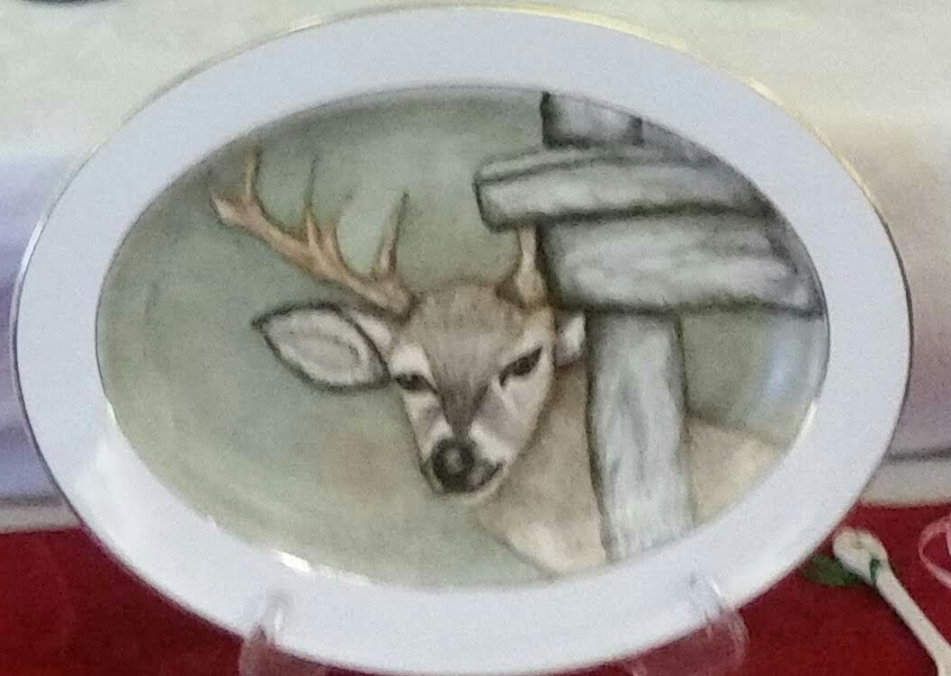 Hand Painter Deer Platter